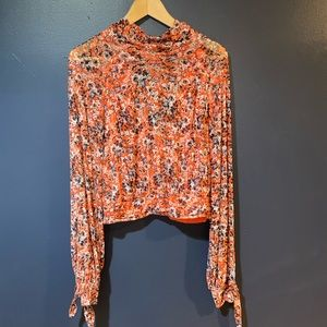 NWOT floral free people long sleeve top